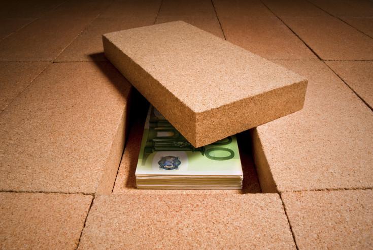 cash in hiding place