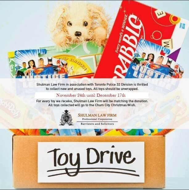 poster shulmans 2014 toy drive family law toronto